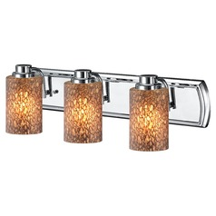 3-Light Bathroom Light with Brown Art Glass in Chrome