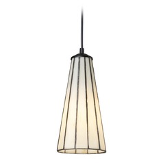 Elk Lighting Lumino Comet White, Matte Black LED Mini-Pendant Light with Conical Shade
