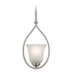 Cornerstone Lighting Brushed Nickel Mini-Pendant with Bell Shade
