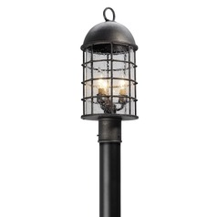 Frosted Seeded Glass Post Light Pewter Troy Lighting