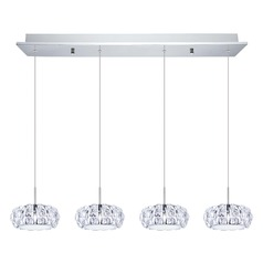 Eglo Corliano Chrome LED Multi-Light Pendant with Drum Shade
