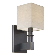 Sconce Wall Light with Beige / Cream Shade in Black Bronze Finish