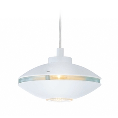 Lite Source Lighting Espace White Mini-Pendant Light with Oval Shade