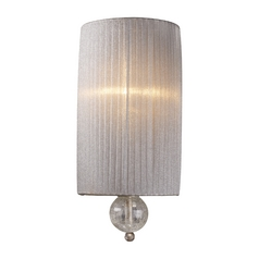Modern Sconce Wall Light with Silver Shade in Antique Silver Finish