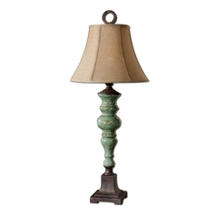 Table Lamp with Brown Shade in Antique Aqua Blue Finish