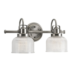 Farmhouse Bathroom Light Prismatic Glass Antique Nickel Archie By Progress  Lighting