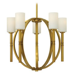 Hinkley 5-Light Chandelier with White Glass in Vintage Brass