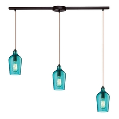 Multi-Light Pendant Light with Green Glass and 3-Lights