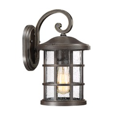 Seeded Glass Outdoor Wall Light Bronze Quoizel Lighting