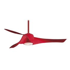 Modern Ceiling Fan with Light with White Glass in High Gloss Pure Red Finish
