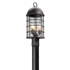 Frosted Seeded Glass LED Post Light Pewter Troy Lighting