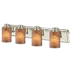 4-Light Bathroom Light with Brown Art Glass in Satin Nickel