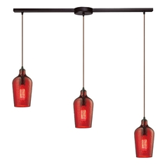 Multi-Light Pendant Light with Red Glass and 3-Lights