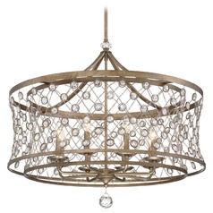 Vel Catena Arcadian Gold Pendant Light with Drum Shade