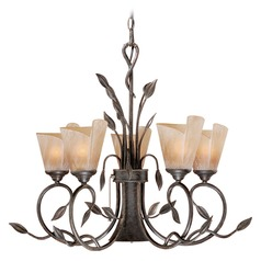 Capri Black Walnut Chandelier by Vaxcel Lighting