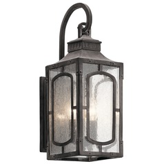 Seeded Glass Outdoor Wall Light Weathered Zinc Bay Village by Kichler Lighting