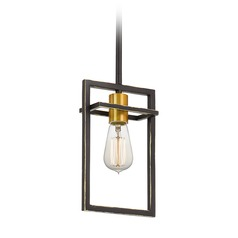 Mid-Century Modern Palladian Bronze and Painted Gold 1-Light Pendant