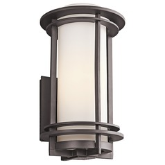 Kichler Outdoor Wall Light with White Glass in Bronze Finish