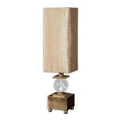 Table Lamp with Beige / Cream Shade in Coffee Bronze Finish