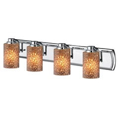 4-Light Bathroom Light with Brown Art Glass in Chrome