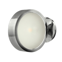 Modern Sconce Wall Light with White Glass in Polished Aluminum Finish