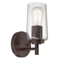 Seeded Glass Sconce Bronze Quoizel Lighting