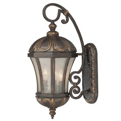 Pale Cream Seeded Glass Outdoor Wall Light Bronze 23-inch Savoy House