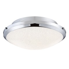 Polished Chrome LED Flushmount Light with Iridescent Shade 3000K 2200LM