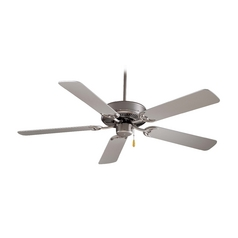 52-Inch Ceiling Fan Without Light in Brushed Steel Finish