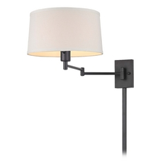 Bronze Swing Arm Wall Lamp With Drum Shade And Cord Cover