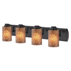 4-Light Bathroom Light with Brown Art Glass in Bronze
