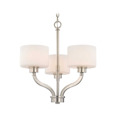 Dolan Designs Lighting Mini-Chandelier Light with White Glass Drum Shades and Three Lights 1267-09