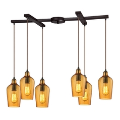 Multi-Light Pendant Light with Amber Glass and 6-Lights