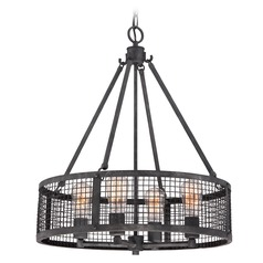 Quoizel Wilder Mottled Black Pendant Light with Drum Shade