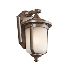 Kichler Lighting Kichler Outdoor Wall Light with White Glass in Brown Stone Finish 49507BST