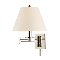 Swing Arm Lamp with Beige / Cream Paper Shade in Polished Nickel Finish