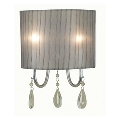 Modern Sconce Wall Light with Grey Shade in Chrome Finish