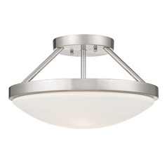 Satin Nickel Semi-Flushmount Ceiling Light with Satin White Glass