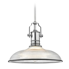 Industrial Pendant Light Prismatic Glass Chrome / Black 14.38-Inch Wide