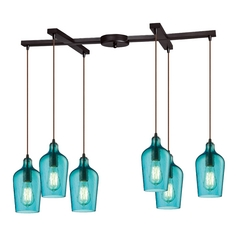 Multi-Light Pendant Light with Green Glass and 6-Lights