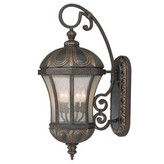 Pale Cream Seeded Glass Outdoor Wall Light Bronze 30-inch Savoy House
