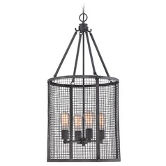 Quoizel Wilder Mottled Black Pendant Light with Cylindrical Shade