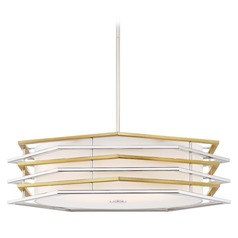George Kovacs Levels Polished Nickel W/honey Gold LED Pendant Light with Drum Shade