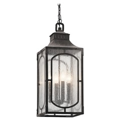 Seeded Glass Outdoor Hanging Light Weathered Zinc Bay Village by Kichler Lighting