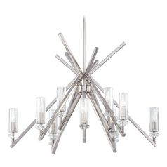 Crystal Chandelier with Clear Glass in Polished Nickel Finish