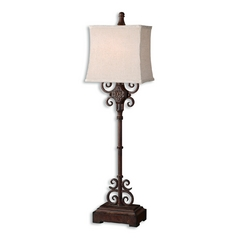 Console & Buffet Lamp with White Shade in Rust Brown Finish