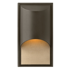 Modern Outdoor Wall Light with Amber Glass in Bronze Finish