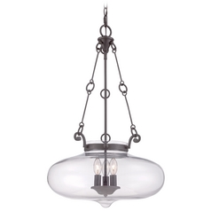 Quoizel Lighting Western Bronze Pendant Light with Bowl / Dome Shade