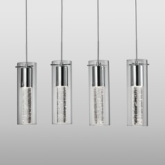 Modern Chrome LED Multi-Light Pendant with Clear Shade 3000K 2400LM