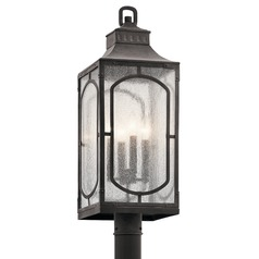 Seeded Glass Post Light Weathered Zinc Bay Village by Kichler Lighting